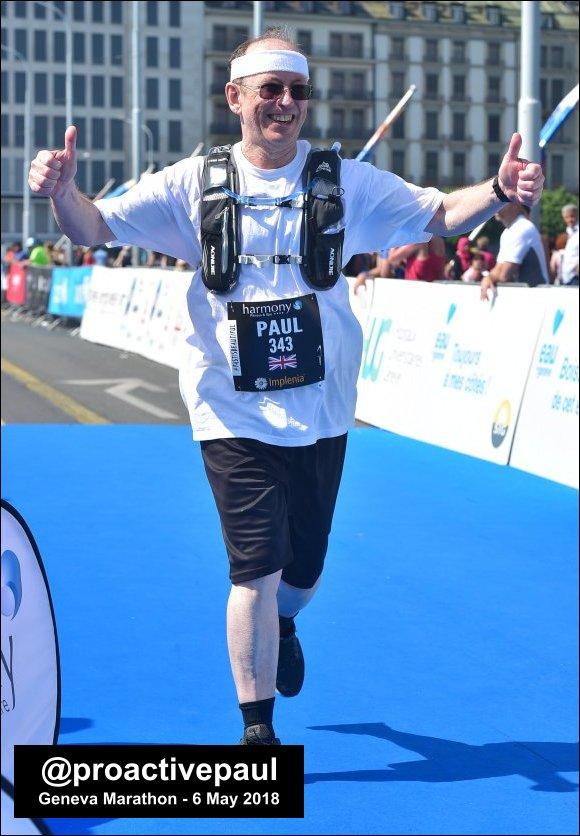 Proactive Paul finishing the Geneva Marathon 2018